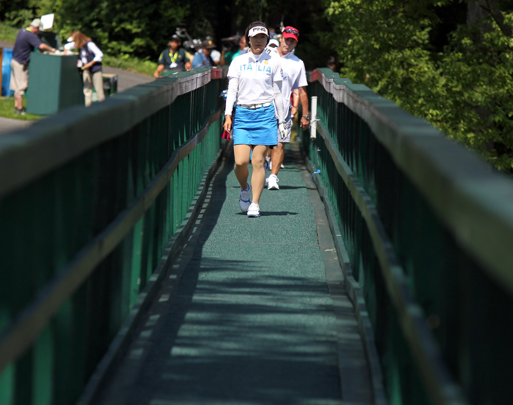 Shiho Oyama, crosses the bridge after teeing off on the 8th hole, during third day action of the 70th US Women's Open at Lancaster Country Club Saturday July 11, 2015. (Photo/Chris Knight)