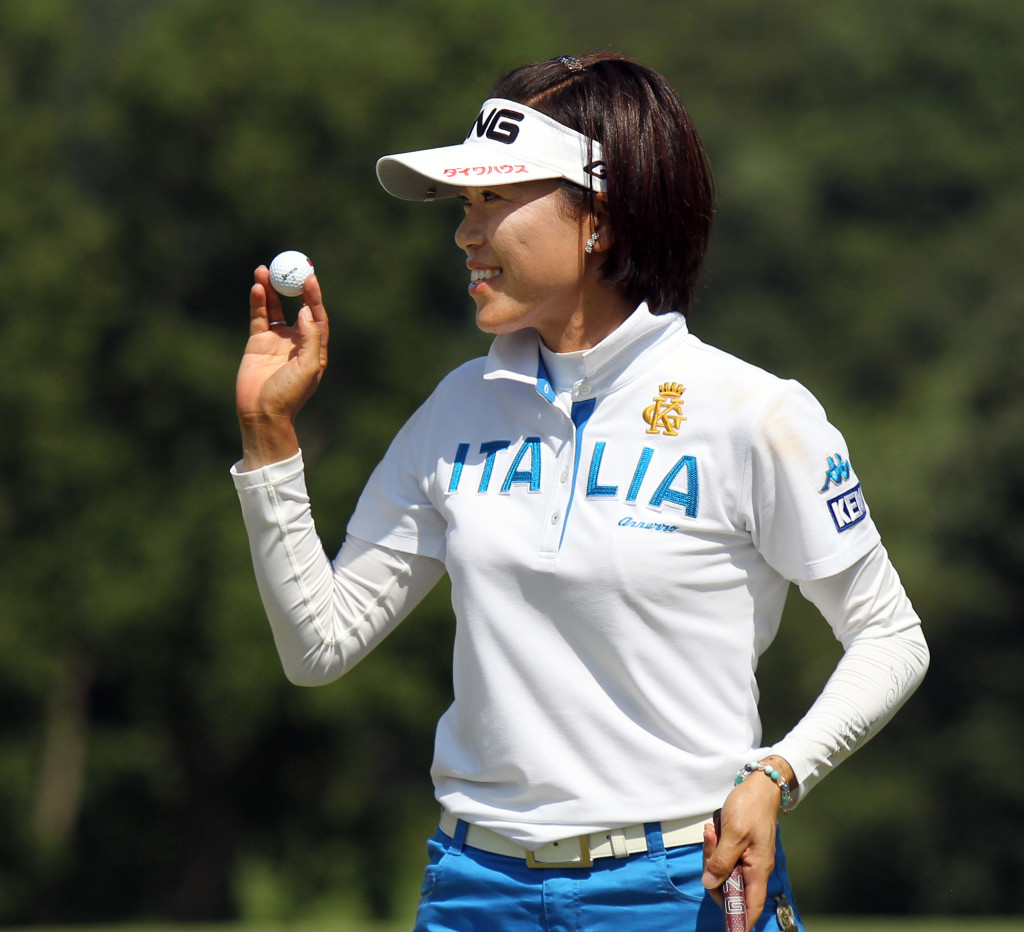 Shiho Oyama, acknowledges the crowd after a birdie putt on the 8th hole, during third day action of the 70th US Women's Open at Lancaster Country Club Saturday July 11, 2015. (Photo/Chris Knight)