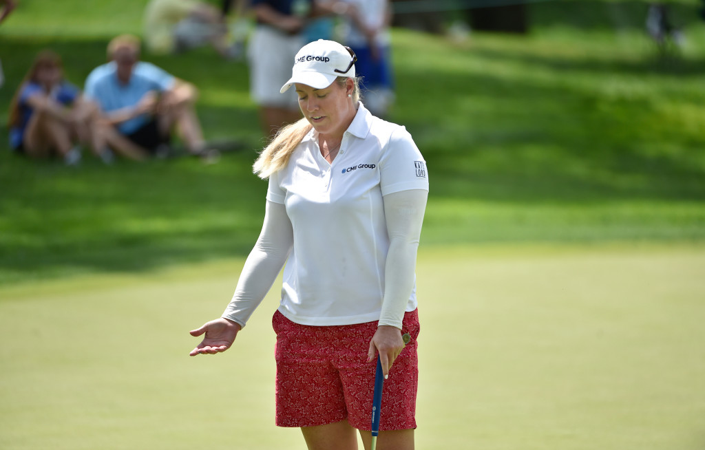 Brittany Lincicome reacts to the difficulty of the greens on the fourth hole during the opening round of the US Women's Open at Lancaster Country Club on Thursday, July 9, 2015. (Photo/Suzette Wenger)
