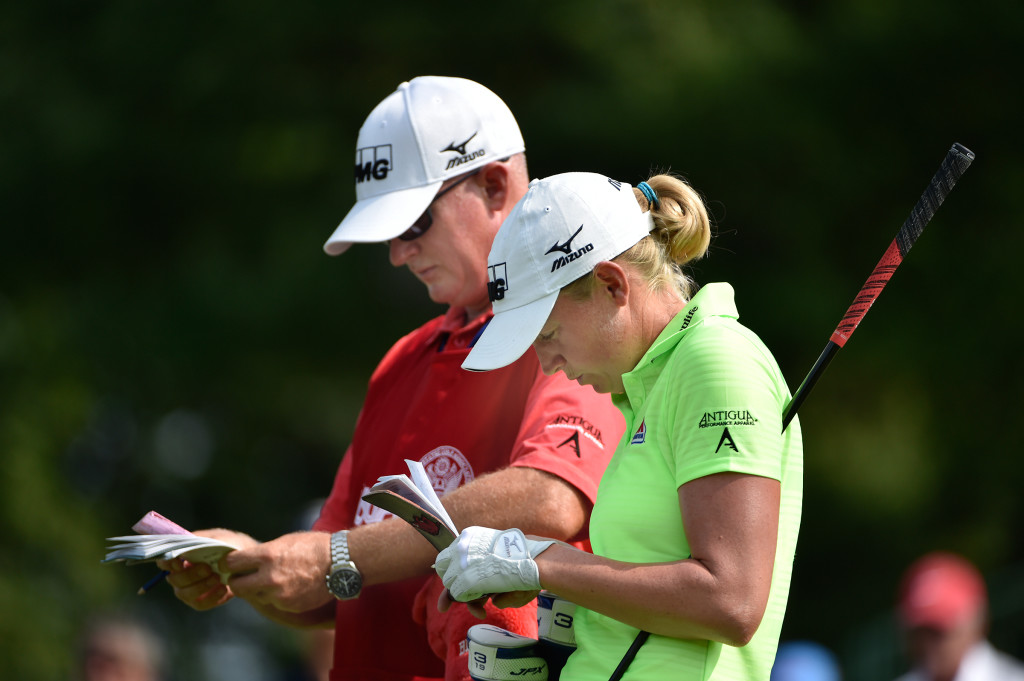 Travis Wilson and Stacy Lewis work on yardage on the 12th tee during the final round of the US Women's Open at Lancaster Country Club on Sunday, July 12, 2015. (Photo/Suzette Wenger)