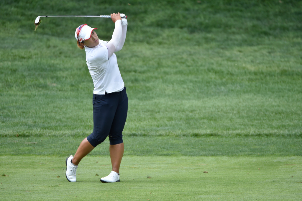 Amy Yang watches her second shot on the fourth hole during the final round of the US Women's Open at Lancaster Country Club on Sunday, July 12, 2015. (Photo/Suzette Wenger)