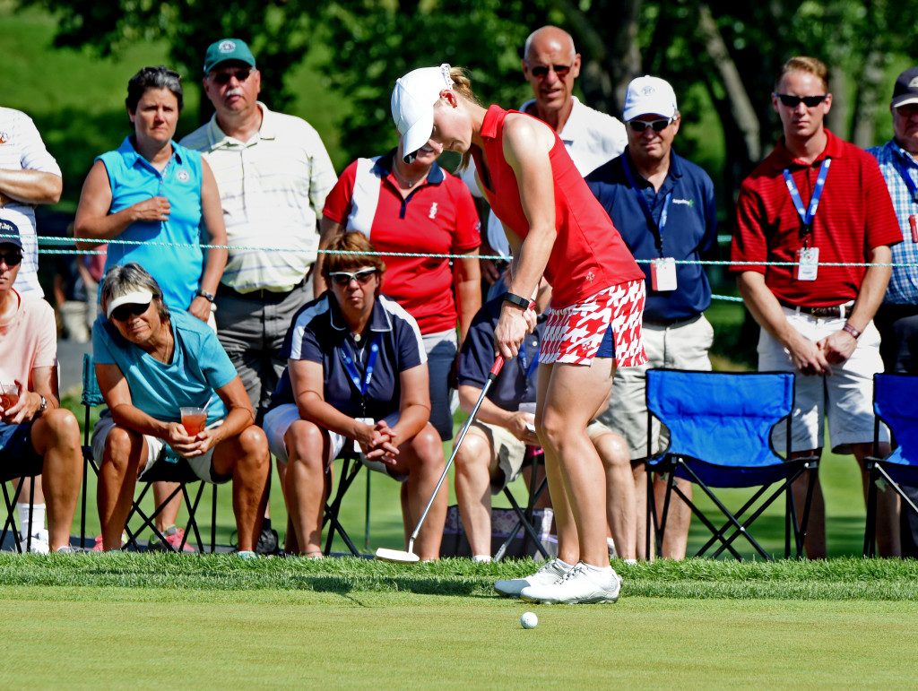 """Lancaster Country Club's Alli Weaver putts on #8 in Round 3 of the 2015 U.S. Open Saturday morning.  Weaver is the """"Marker"""" who is playing along with Haruka Morita-Wanyaolu who is unpaird for this round of the tournament.  (Photo/Blaine Shahan)"""