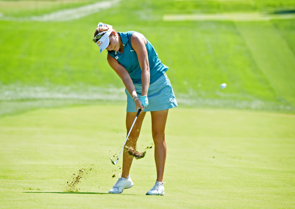 Lexi Thompson makes her approach shot on #2 at Lancaster Country Club in Round 3 of the U.S. Women's Open Saturday. Thompson was tied for 12th at the start of play Saturday. (Photo/Blaine Shahan)