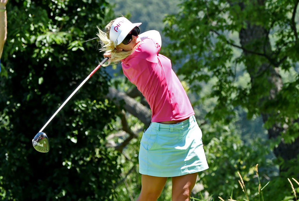 Pernilla Lindberg tees off on hole #2 at Lancaster Country Club in Round 3 of the 2013 U.S. Women's Open Saturday. (Photo/Blaine Shahan)