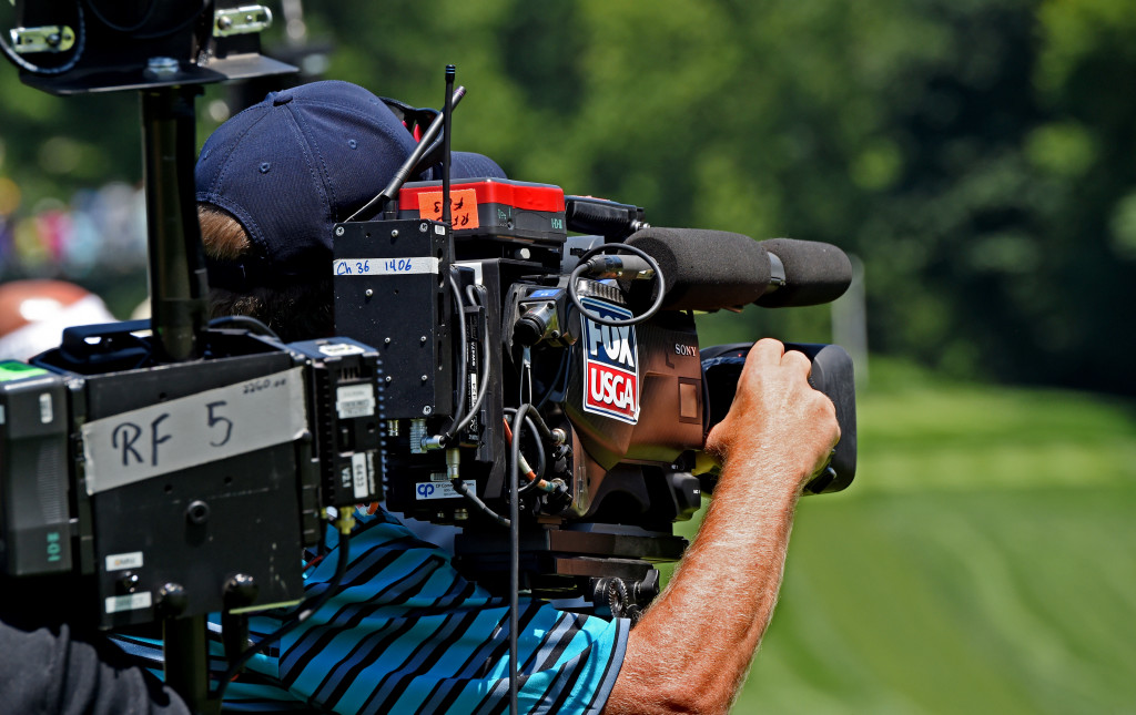 A Fox Sports camera catches the action along hole #2 at Lancaster Country Club in Round 3 of the 2013 U.S. Women's Open Saturday. (Photo/Blaine Shahan)