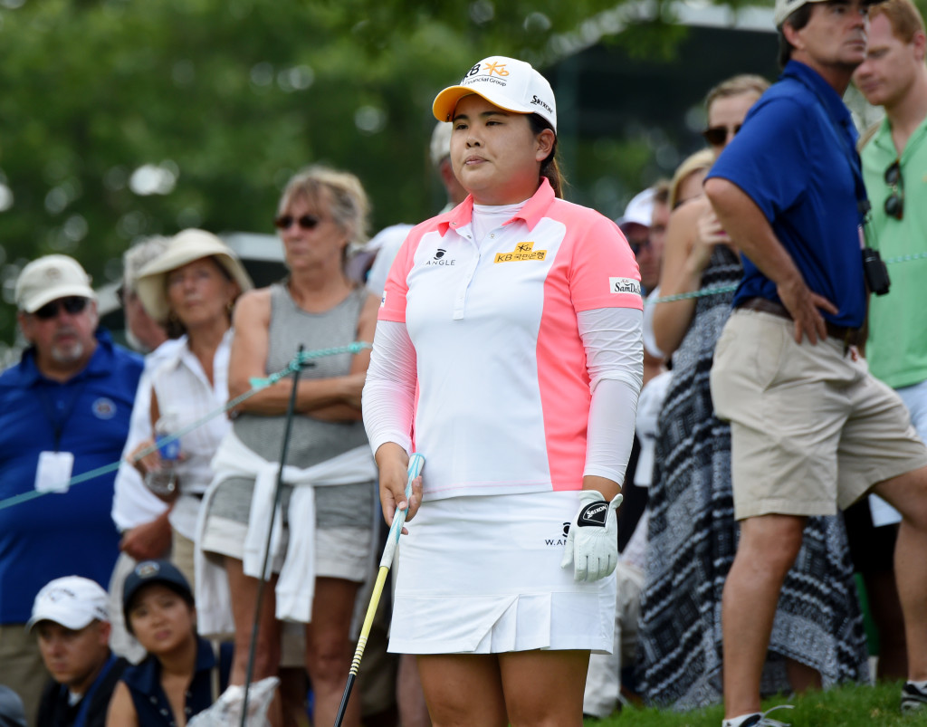 Inbee park looks over hole #3 before teeing off Sunday.  (Photo/Blaine Shahan)