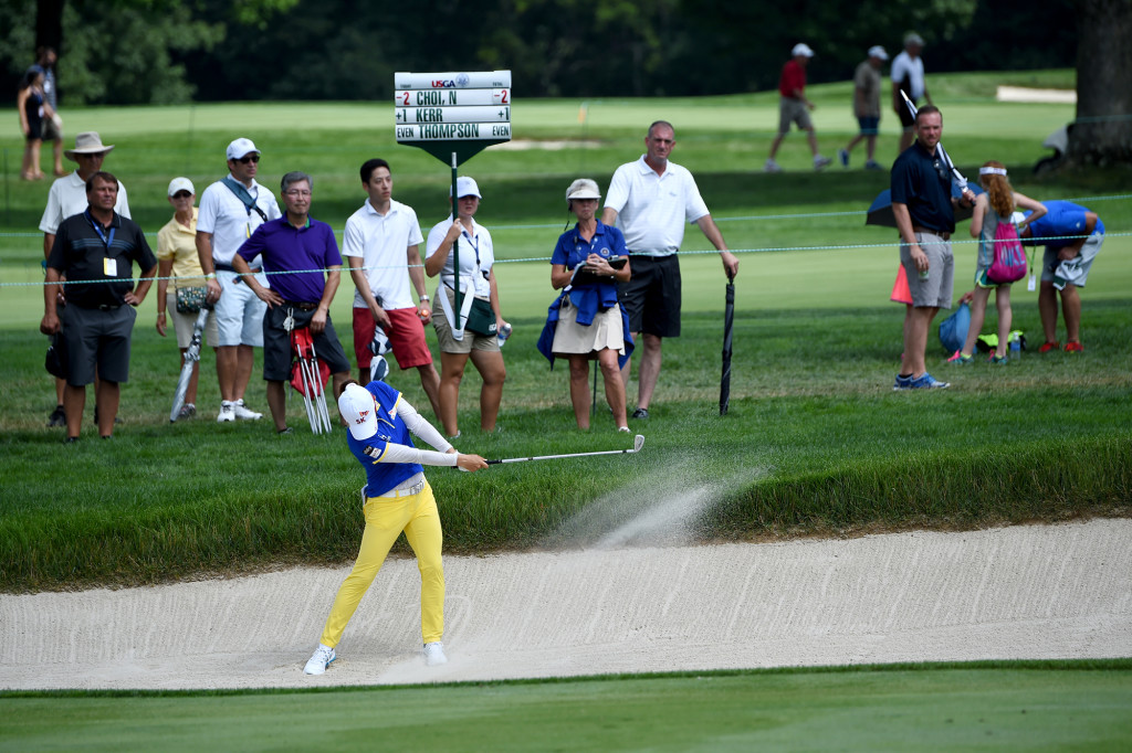 Na Yeon Choi hits from a bunker on the 14th fairway during the first round of the US Women's Open at Lancaster Country Club on Thursday, July 9.