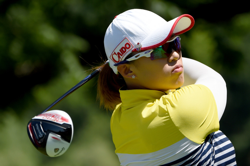 Amy Yang follows through on her tee shot on the second hole during Round 3 of the US Women's Open at Lancaster Country Club on Saturday, July 11.