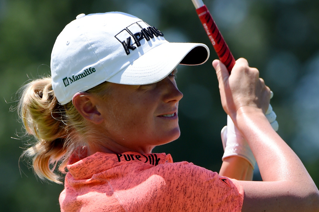 Stacy Lewis watches her tee shot on the first hole during Round 3 of the US Women's Open at Lancaster Country Club on Saturday, July 11.